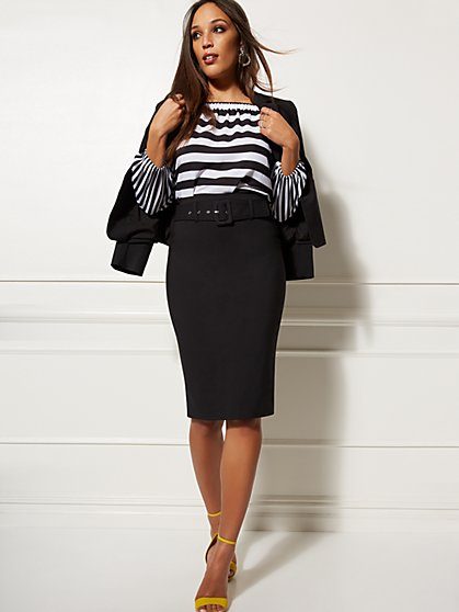 Black Belted Pencil Skirt - All-Season Stretch - 7th Avenue - New York ... 3a4ac0000