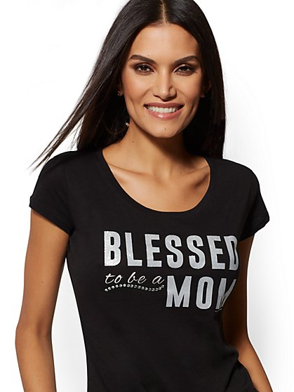 "Black ""Blessed to be a Mom"" Graphic Logo Tee - New York & Company"