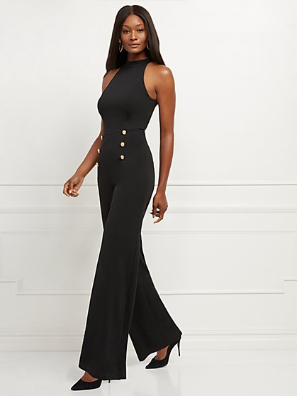 Black Button-Accent Halter Jumpsuit - New York & Company