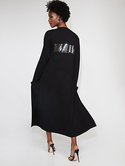 "Black ""Carry On"" Duster Cardigan - Gabrielle Union Collection - New York & Company"