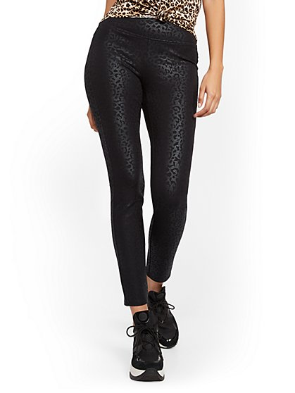 Black Cheetah High-Waisted Yoga Legging - Ponte - New York & Company