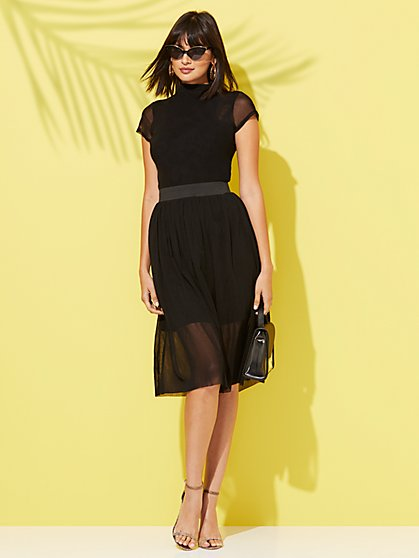 Black Chiffon-Overlay Midi Skirt - Sweet Pea - New York & Company