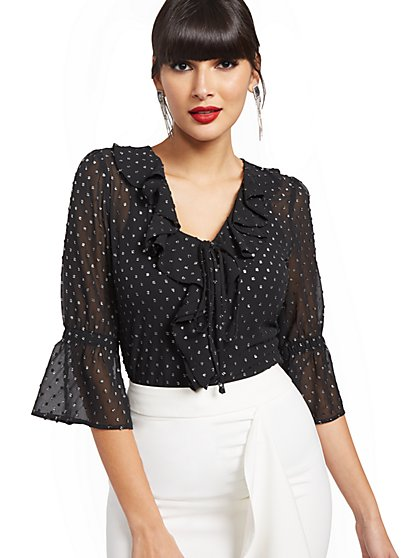 Black Clip-Dot Blouse - New York & Company