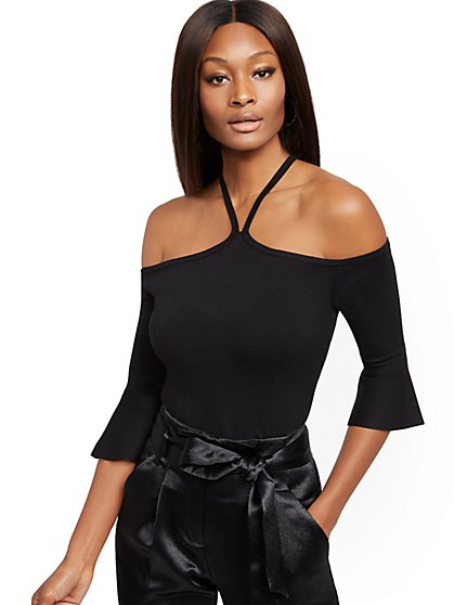 Black Crisscross Bell-Sleeve Sweater - 7th Avenue - New York & Company