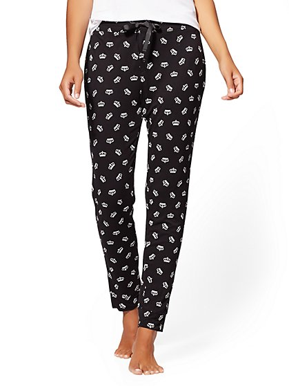 Black Crown-Print Pajama Pant - New York & Company