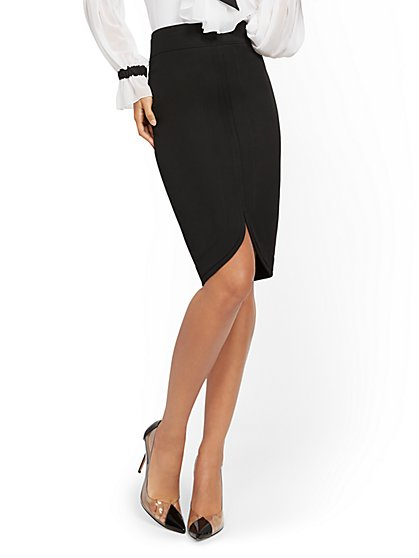 Black Curved-Hem Pencil Skirt - 7th Avenue - New York & Company