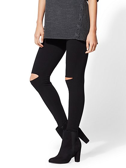 Black Cutout Knit Legging - New York & Company