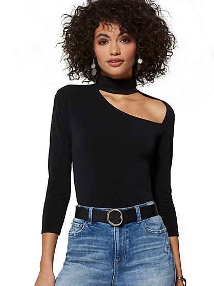 Black Cutout Mock-Neck Top - New York & Company