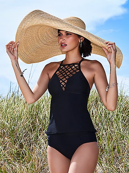 Black Cutout Tankini Top - NY&C Swimwear - New York & Company