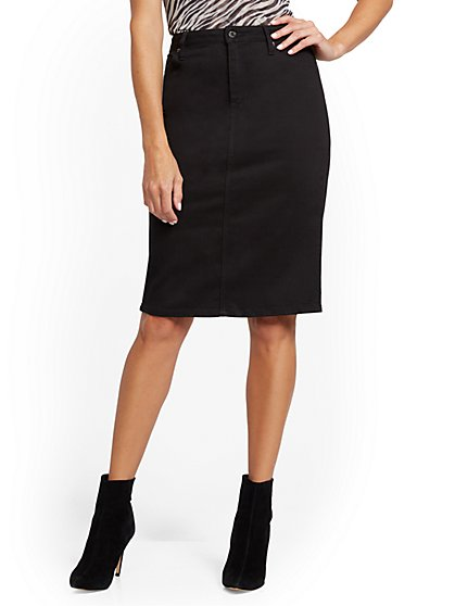 Black Denim Pencil Skirt - New York & Company