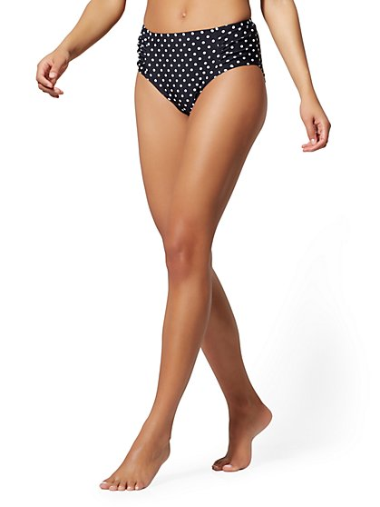 Black Dot Mid-Rise Bikini Bottom - NY&C Swimwear - New York & Company
