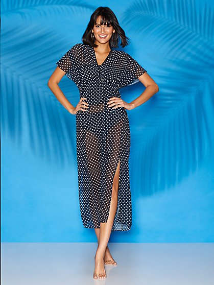 Black Dot-Print Caftan Coverup - Sweet Pea Swimwear - New York & Company