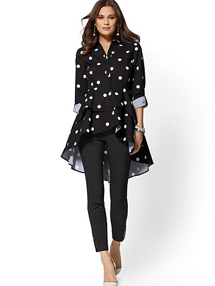 Black Dot-Print Tiered Hi-Lo Poplin Shirt - New York & Company