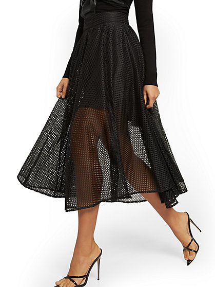 Black Eyelet Full Skirt - 7th Avenue - New York & Company