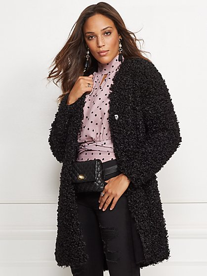 Black Faux-Fur Coat - New York & Company