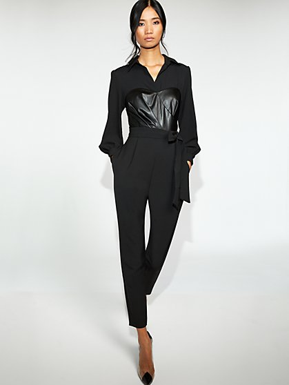 Black Faux-Leather Corset Jumpsuit - Gabrielle Union Collection - New York & Company