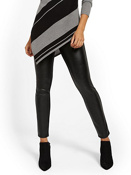 Black Faux Leather-Front Legging - New York & Company