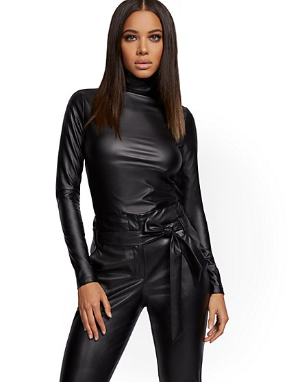 Black Faux-Leather Top - New York & Company