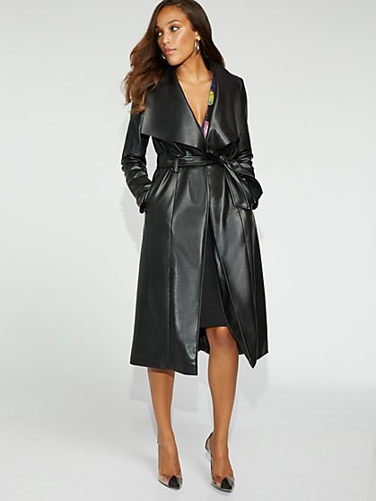 Black Faux-Leather Trench Coat - Gabrielle Union Collection - New York & Company