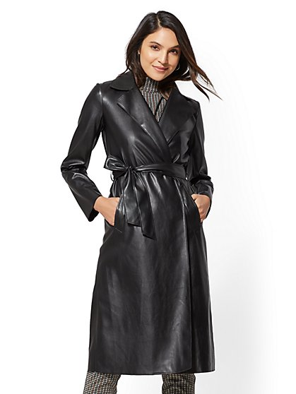 Black Faux-Leather Trench Coat - New York & Company