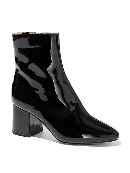 Black Faux Patent-Leather Ankle Boot - New York & Company