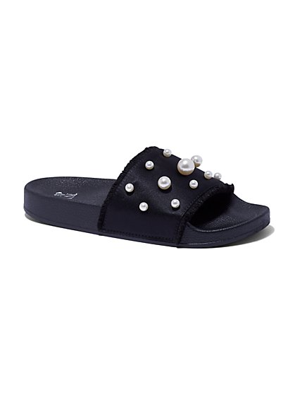Black Faux-Pearl Pool Slide Sandal - New York & Company