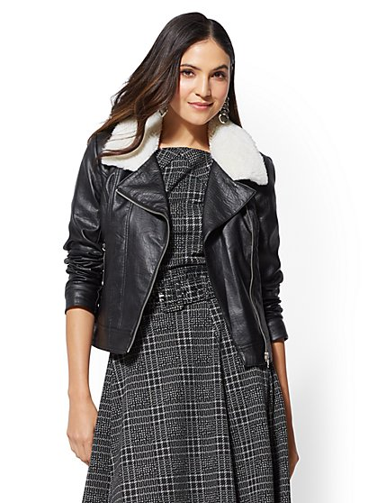 Black Faux Sherpa-Lined Moto Jacket - New York & Company