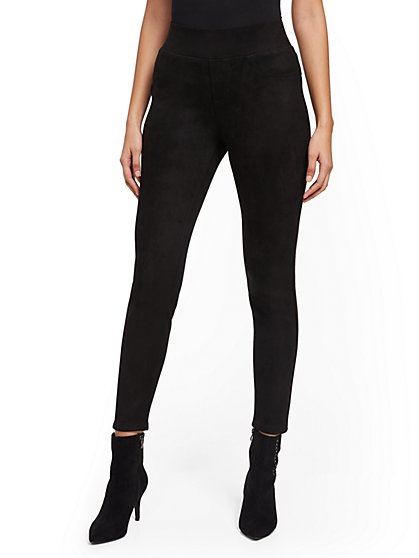 Black Faux-Suede High-Waisted Legging - New York & Company