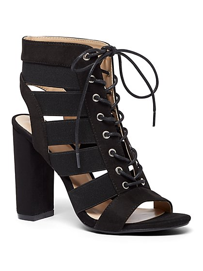 Black Faux-Suede Lace-Up Sandal - New York & Company