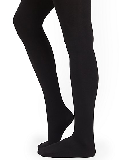 Black Fleece-Lined Tights - New York & Company