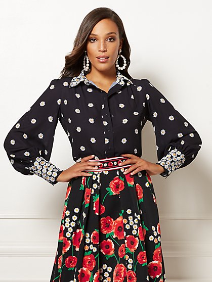 81f77537cc Black Floral Candra Blouse - Eva Mendes Collection - New York   Company ...