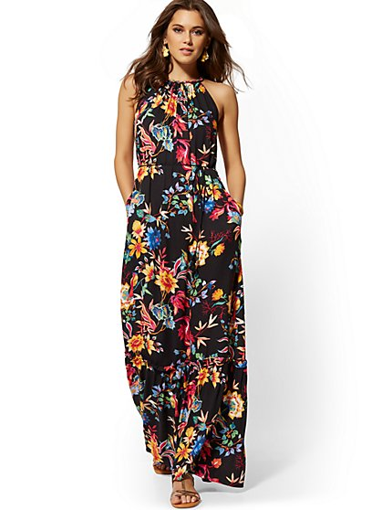 1573b082c43d Black Floral Halter Maxi Dress - New York & Company ...