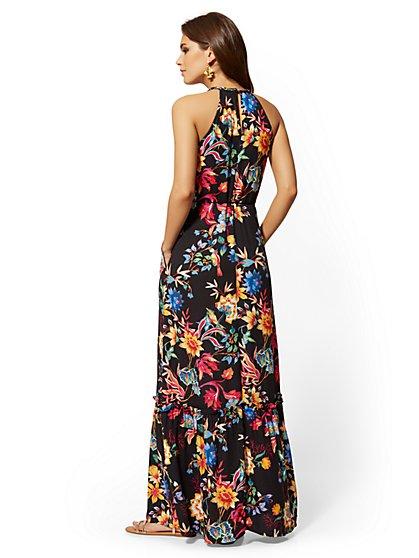7e7f842a53be ... Black Floral Halter Maxi Dress - New York & Company ...