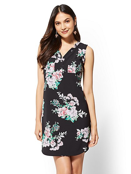 Black Floral Henley Shift Dress - New York & Company