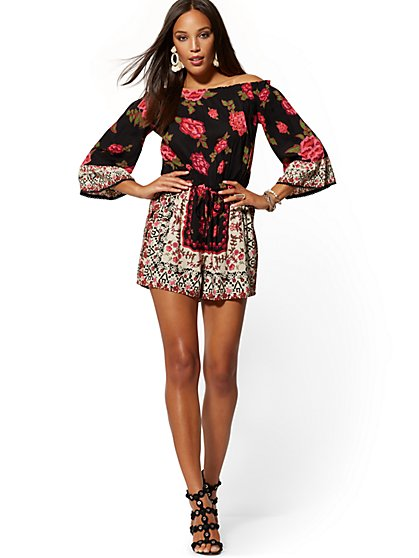 7a780130c6 Black Floral Off-The-Shoulder Romper - New York & Company ...