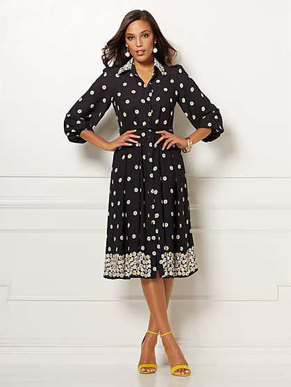 Black Floral Pia Shirtdress - Eva Mendes Collection - New York & Company