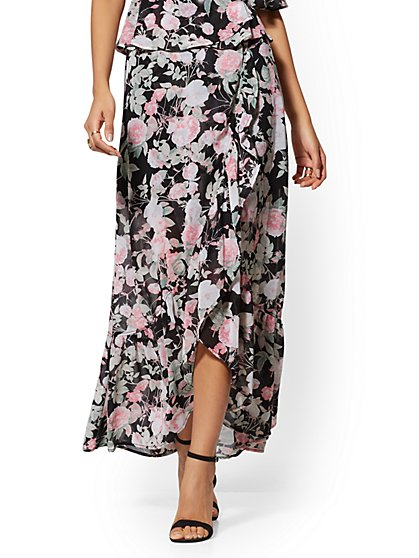 Black Floral Ruffled Maxi Skirt - New York & Company