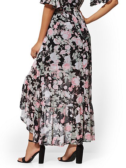 29d410d4fb ... Black Floral Ruffled Maxi Skirt - New York & Company ...