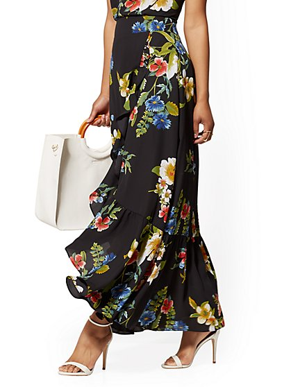 Black Floral Ruffled Wrap Skirt - New York & Company