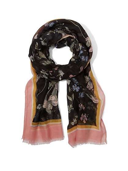 Black Floral Scarf - New York & Company