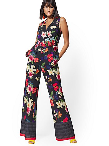 Black Floral & Stripe V-Neck Wrap Jumpsuit - New York & Company