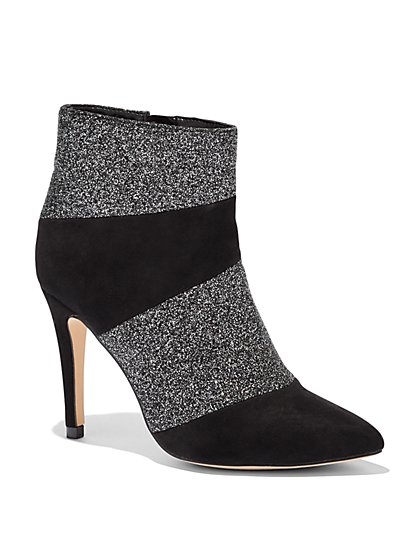 Black Glitter Finish & Faux-Suede Bootie - New York & Company