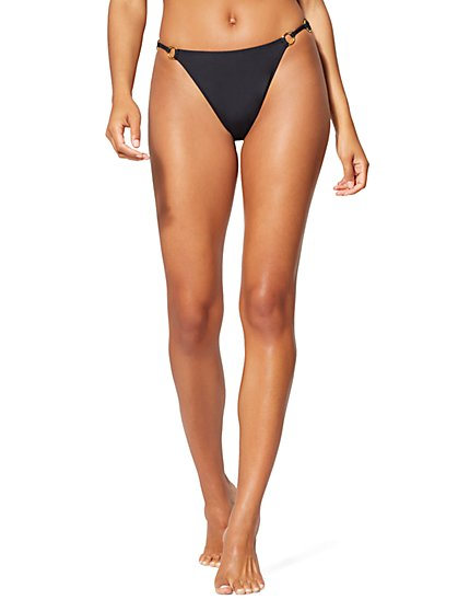 Black Grommet-Accent Bikini Bottom - NY&C Swimwear - New York & Company
