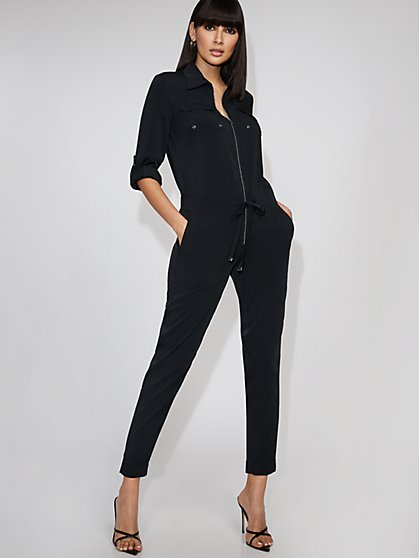 Black Half-Zip Jumpsuit - Gabrielle Union Collection - New York & Company