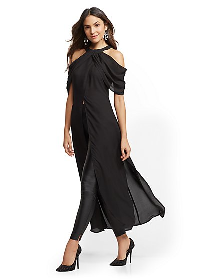 Black Halter Maxi Blouse - New York & Company