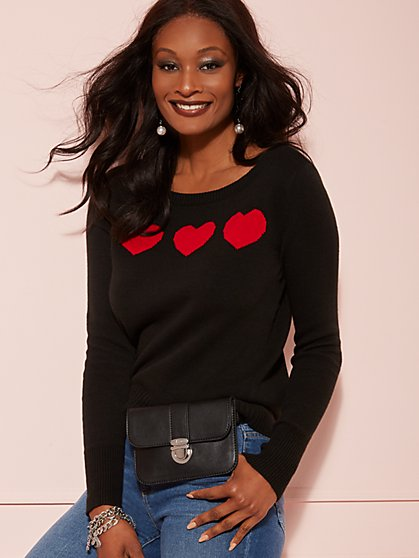 Black Heart-Print Sweater - New York & Company