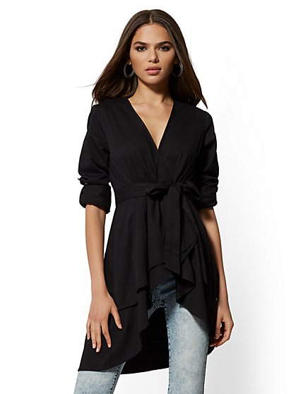 Black Hi-Lo Cotton Wrap Blouse - New York & Company