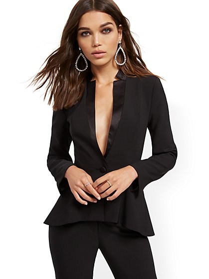 Black High-Low Peplum Jacket - New York & Company