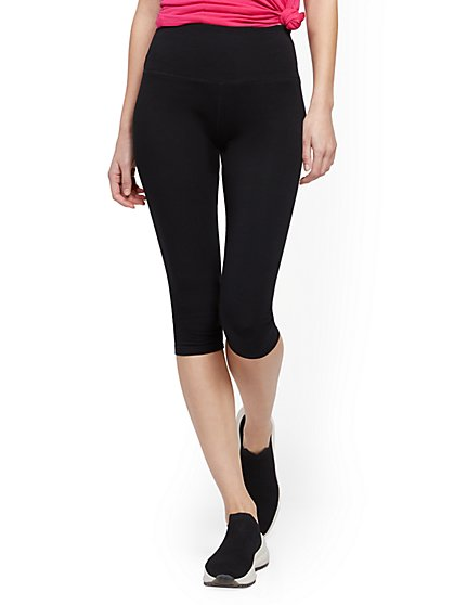 Black High-Waisted Knee-Length Pocket Legging - New York & Company