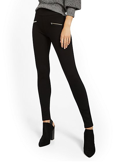 Black High-Waisted Zip-Accent Ponte Legging - New York & Company